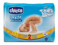 Chicco Baby Pañal Dry Fit Advanced Mini Talla 2 de 3-6 Kg 25 Pañales