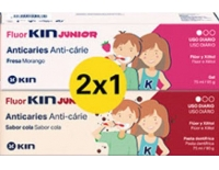 Kin FluorKin Junior Dentífrico Pack 2 x 1 Sabor Fresa 75 ml + Sabor Cola 75 ml