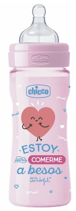 Chicco Biberón Silicona 250 ml Tetina Flujo Medio 2 Meses+ By Mr.Wonderful Rosa EDICION LIMITADA