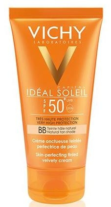 VICHY Solar Idéal Soleil BB Cream Facial Emulsión Tacto Seco con Color (SPF50+) 50 ml + REGALO After Sun 100 ml